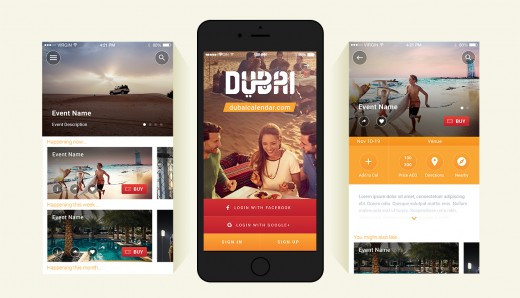 Dubai Calendar App: you can search for events and buy tickets online.