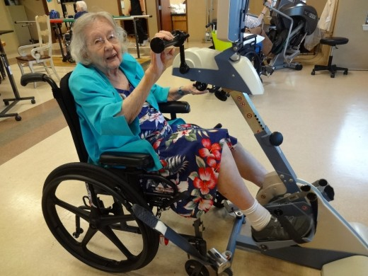 Louise at ninety-six years old getting physical therapy after a fall.