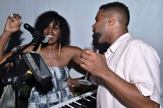 "Aziza with Natalie Cole's son, Robert ""Robby"" Yancy. A gifted drummer, Robby has performed with Aziza on several occasions."