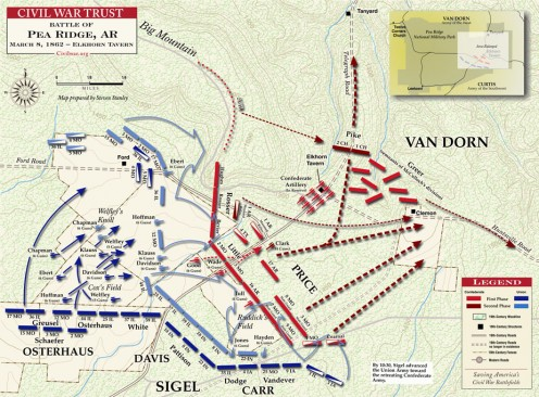 Battle for Elkhorn Tavern and the Confederate retreat after Van Dorn's troops run out of ammunition.