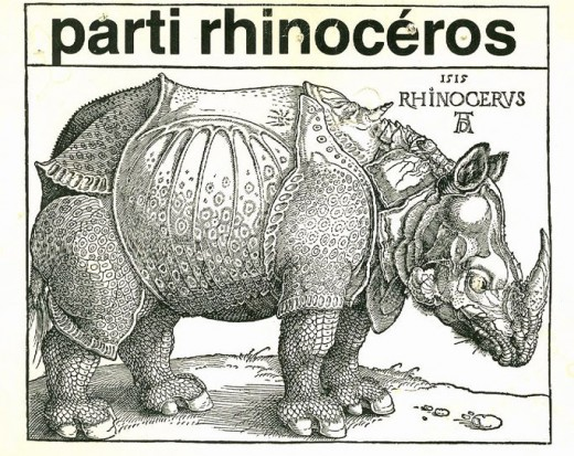 The current Rhinoceros Party Logo. Parti Rhinoceros is french for Rhinoceros Party.