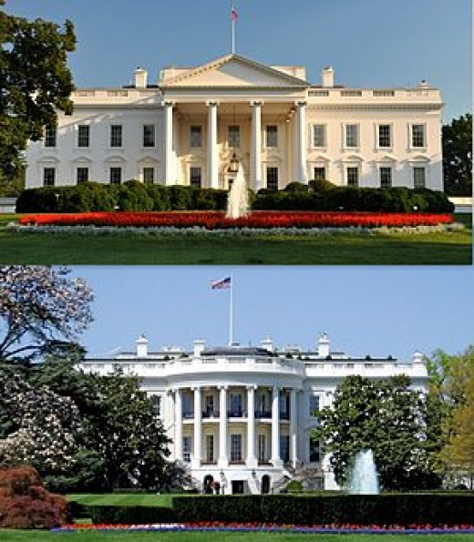 Top is north facade facing LaFayette Square.  Bottom is south facade facing the Ellipse.