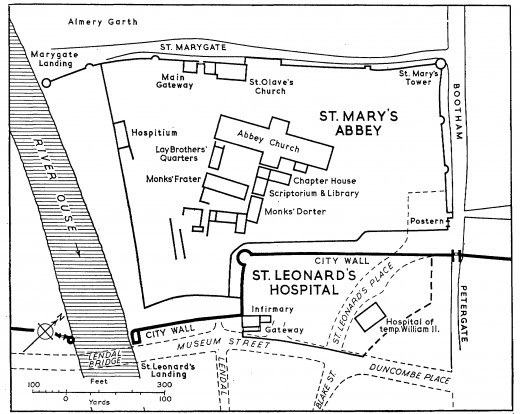 A part of York Richard would have known, to the north of the city near the river to Marygate and Bootham, St Mary's abbey and St Leonard's hospice on Roman footings