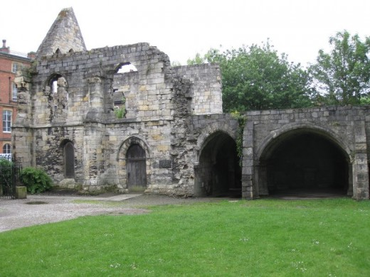 Part of the ruins of St Leonard's Hospice near the Yorkshire Museum, York, on the way from Lendal Bridge to Bootham