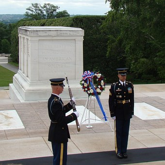 Changing of the Guard at the Tomb of the Unknown Soldier in Arlington Cemetery