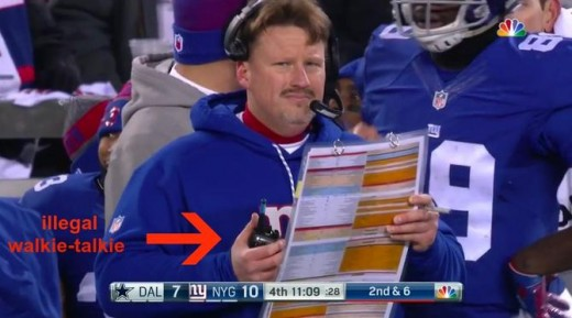 NY Giants head coach Ben McAdoo isn't exactly slick when he's breaking the rules.  This little walkie-talkie stunt cost the Gisnts $200k and a draft pick penalty