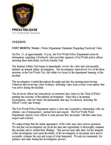 Detective M. Kelly with the Fort Worth Police Department's Internal Affairs Division told The Root that Fort Worth Police Chief Joel Fitzgerald had been made aware of the Wednesday arrests of Jacqueline Craig and her daughter Brea Hymond.