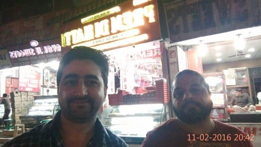 Selfie with big brother in front of Prem Sweets.