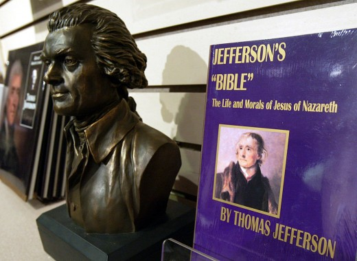 WASHINGTON - OCTOBER 14: The book 'Jefferson's 'Bible' - The Life and Morals of Jesus of Nazareth' (R) is displayed at the bookstore of Thomas Jefferson Memorial October 14, 2004 in Washington, DC. Although the U.S. constitution prohibits an official