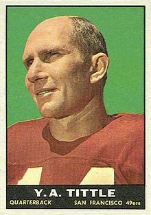 Y.A. Tittle on 1961 Topps ball card
