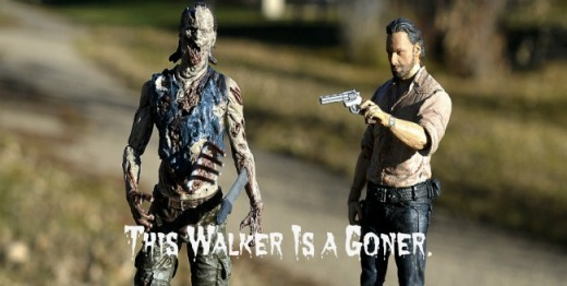 Rick Grimes is about to shoot this walker. Remember to aim for the head.
