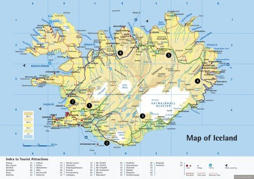 A Map Of the Country of Iceland With A list of Tourist Attractions