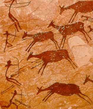 Cave paintings from the Mediterranean.  Hunters in these images are often assumed to be male.