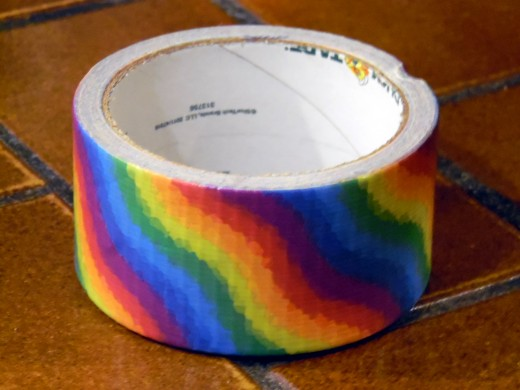 I was lucky to have this awesome roll of rainbow duct tape on hand.
