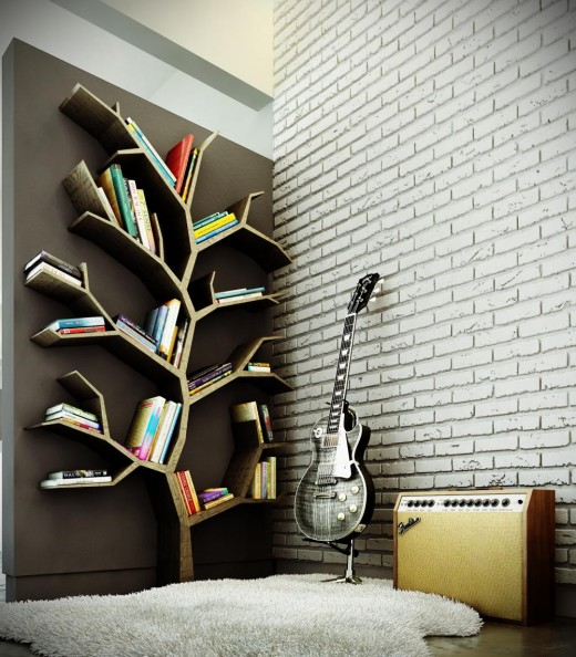 Tree branch bookcase