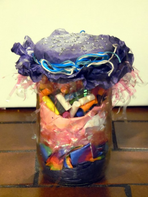 Behold! A finished whimsical jar decoration.
