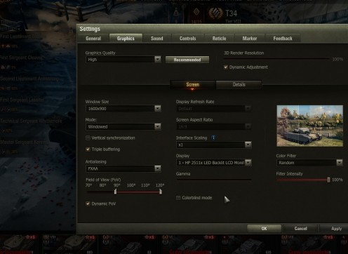 World of Tanks Graphics Settings Screen