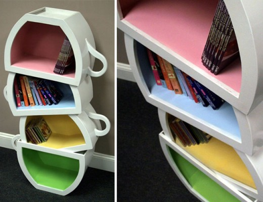 Coffee cups bookcase
