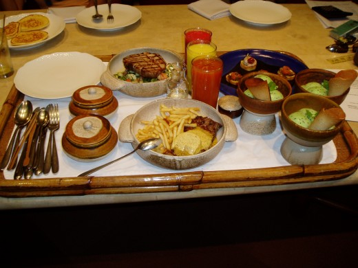 A peek at the scrumptious food served within the resort.