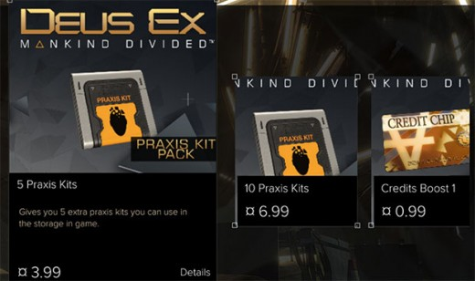 Microtransactions were notoriously unpopular and unnecessary in Deus Ex: Mankind Divided.