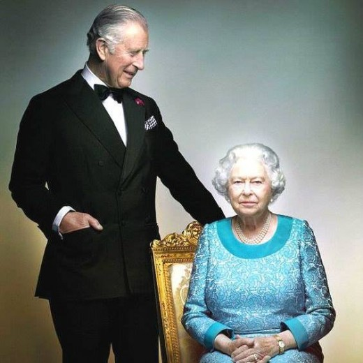 Prince Charles with mother Elizabeth II