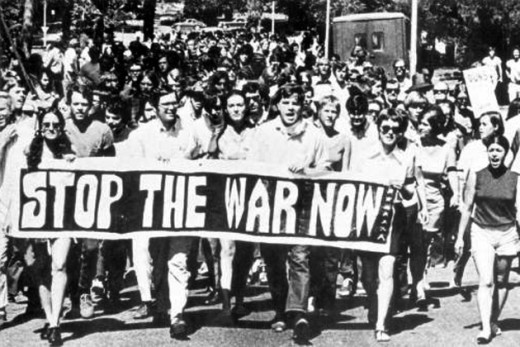 """marching against the Vietnam War"""
