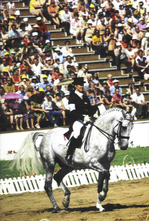 Elisabeth Theurer riding Mon Cherie at the 1980 Moscow Olympics, where they won the gold medal.