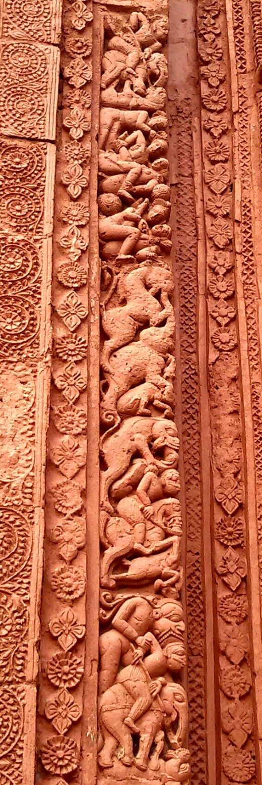 """Mrityulata"" panel in terracotta; Nandadulal Jiu temple; Gurap, Hooghly, West Bengal"