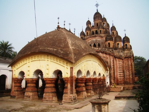 Lalji temple; Kalna, Bardhaman district; a 'Panchabingshati Ratna' temple (temple with 25 pinnacles).