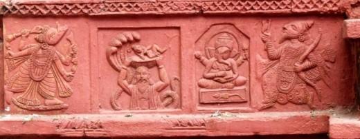 Varahavatar, Basudev carrying baby Krishna, Lord Ganesha & Parashurama : Left base panel : Nandadulal Jiu ntemple, Gurap