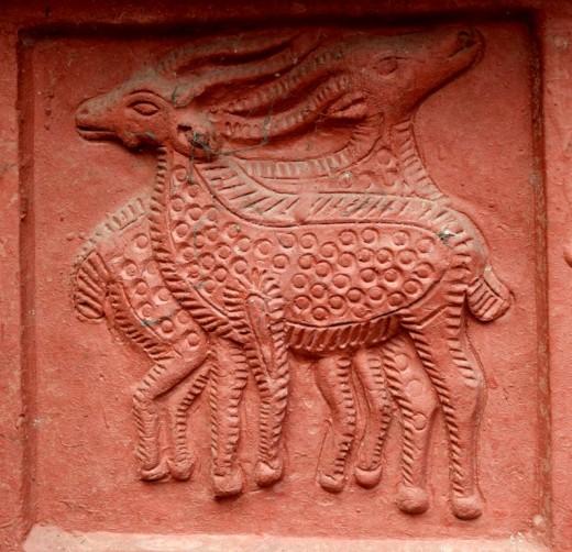 Two deer : Decorations on pillar : Nandadulal Jiu temple, Gurap