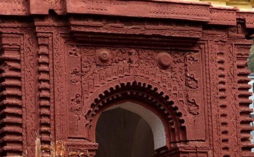 Front facade of 'Raas Mancha', Nandadulal Jiu temple, Gurap