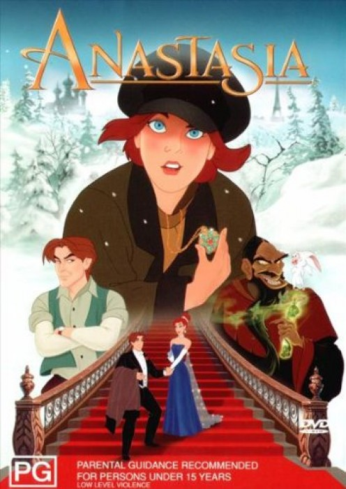 Some of the characters from the Anastasia 1997 animated film: Anya, Dimitri and Rasputin. The weird and evil-looking guy on the right is supposed to be Rasputin. He's the villain in the Anastasia movie.