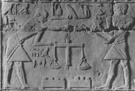 One of the oldest surviving images of an equal-arm balance. Egyptian tomb, VI Dynasty, after ca. 2300 BC.
