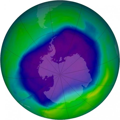 The ozone hole over Antarctica