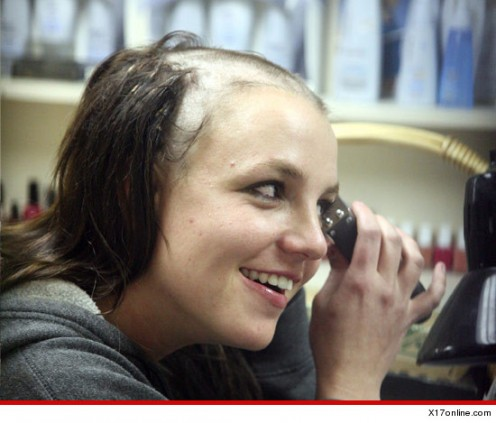 Britney Spears (2007) shaves head to allegedly avoid expected dug testing order, celebrity status allows thumbing her nose to the court.