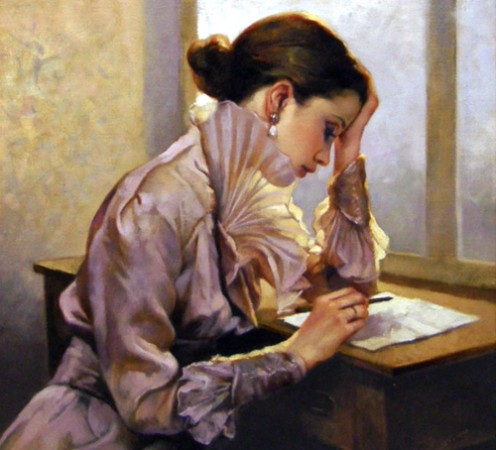When I saw this painting online, I just knew I had to reference it for this Hub and my poem.  I empathize with this lady's intense thoughts as she pauses to write.  It's a feeling all writers have but cannot describe.