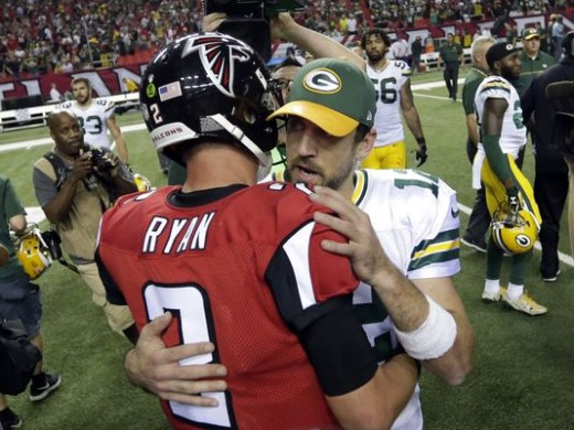 Matt Ryan and Aaron Rogers after a 33-32 Falcons win week 8.