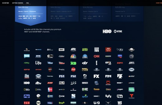Channels Included with PlayStation Vue's UltraSlim Package - $54.99/mo (normally priced at $64.99). 90 channels including local on demand channels,HBO, Showtime and DVR options.