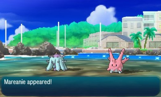 Mareanie arrives after hearing Corsola cry for help.