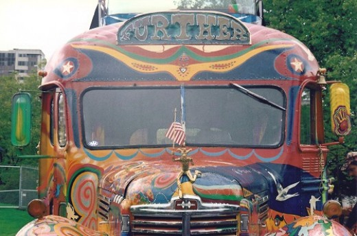 Neal Cassady drove this psychedelic bus around the country, accompanied by Ken Kesey and the Merry Pranksters
