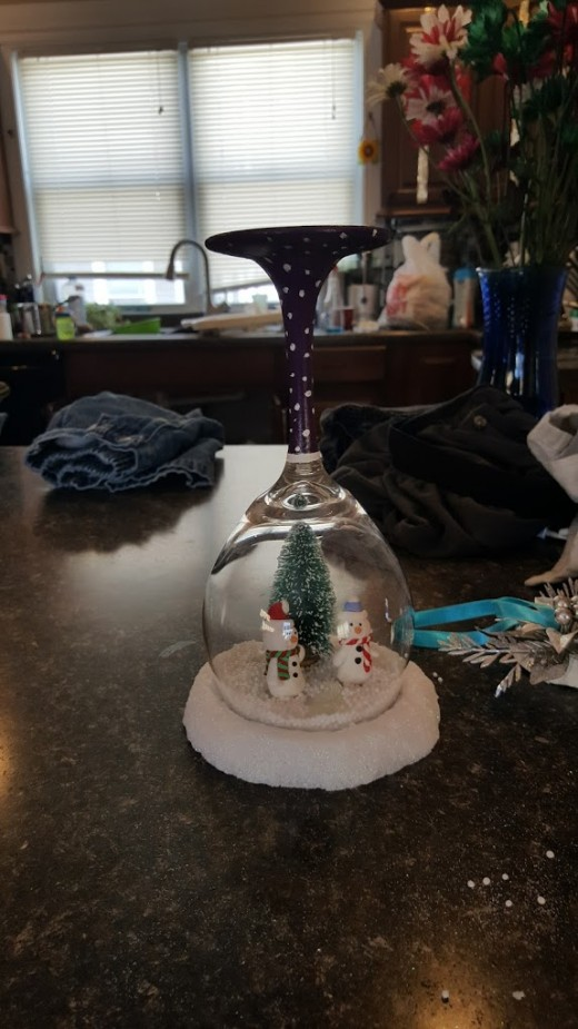 wine glass snow globe I made as a gift.