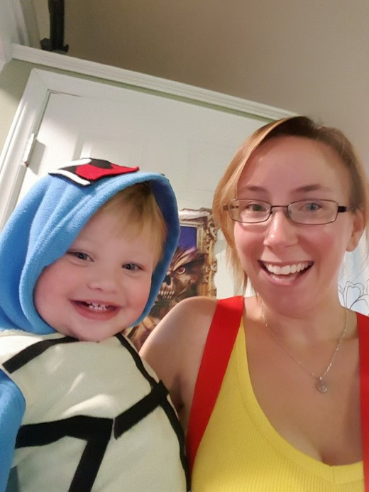 Me and my son getting ready to go trick or treating in the costumes I made for us.