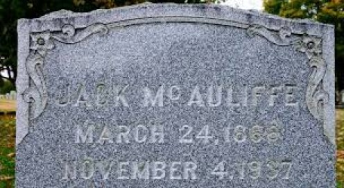 The tombstone of former world lightweight champion Jack McAuliffe. He retired from the sport undefeated. McAuliffe was born in 1886 and he passed away in 1937.