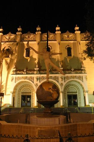 Politics and betting killed Mexico City's great Jai-alai Palace. Note statue of pelotari in front