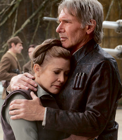 General Leia sharing an embrace with Han Solo