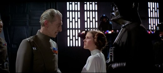 Leia faces Grand Moff Tarkin and Darth Vader, before witnessing the power of the Death Star