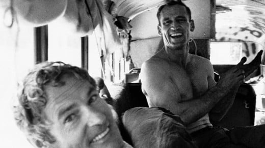 "Ken Kesey (in foreground) and Neal Cassady on board the ""magic bus""."