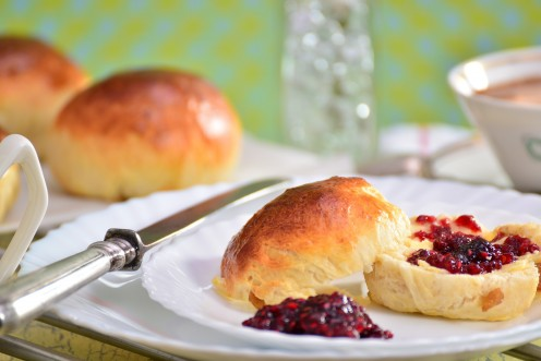 Plain scones for breakfast with home-made raspberry jam and butter.
