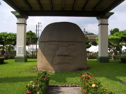 The La Cobata head, in the main plaza of Santiago Tuxtla. The colossal head was discovered in 1970 and was the fifteenth to be recorded.